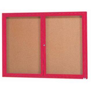 Aarco DCC3648RR 2 Door Indoor Enclosed Bulletin Board with Red Powder Coated Aluminum Frame  36