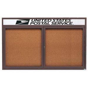 Aarco DCC3660RHBA 2 Door Indoor Enclosed Bulletin Board with Bronze Anodized  Aluminum Frame  and Header 36
