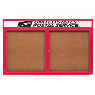Aarco DCC3660RHR 2 Door Indoor Enclosed Bulletin Board with Red Powder Coated Aluminum Frame  and Header 36