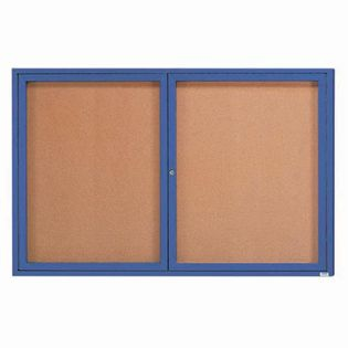 Aarco DCC3672RB 2 Door Indoor Enclosed Bulletin Board with Blue Powder Coated Aluminum Frame  36