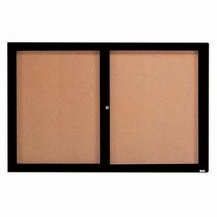 Aarco DCC3672RBK 2 Door Indoor Enclosed Bulletin Board with Black Powder Coated Aluminum Frame  36