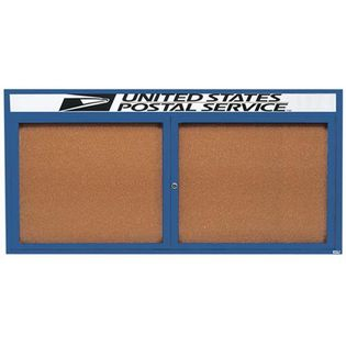 Aarco DCC3672RHB 2 Door Indoor Enclosed Bulletin Board with Blue Powder Coated Aluminum Frame  and Header 36