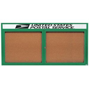 Aarco DCC3672RHG 2 Door Indoor Enclosed Bulletin Board with Green Powder Coated Aluminum Frame  and Header 36