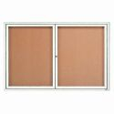 Aarco DCC3672RW 2 Door Indoor Enclosed Bulletin Board with White Powder Coated Aluminum Frame  36