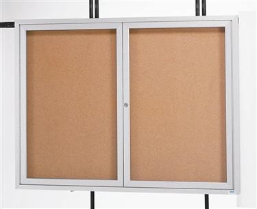 Aarco DCC4860R 2 Door Indoor Enclosed Bulletin Board with Aluminum Frame  48