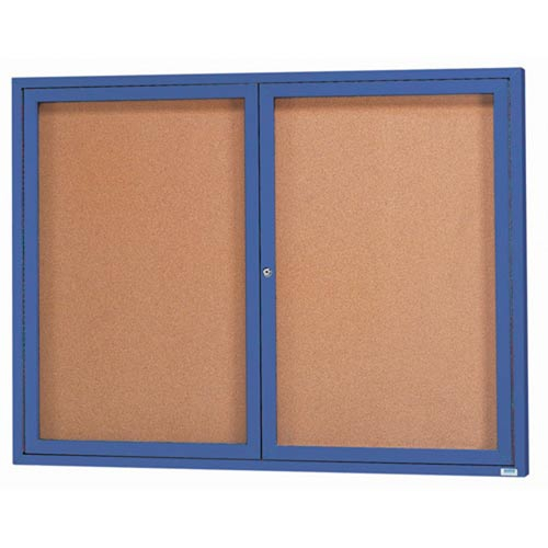 Aarco DCC4860RB 2 Door Indoor Enclosed Bulletin Board with Blue Powder Coated Aluminum Frame  48