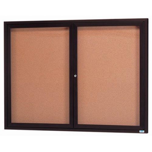 Aarco DCC4860RBA 2 Door Indoor Enclosed Bulletin Board with Bronze Anodized  Aluminum Frame  48