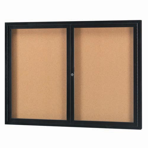 Aarco DCC4860RBK 2 Door Indoor Enclosed Bulletin Board with Black Powder Coated Aluminum Frame  48