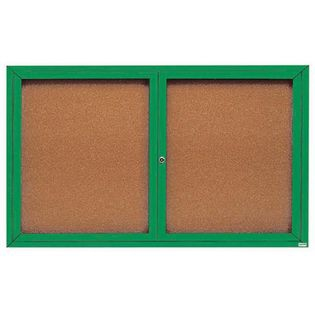 Aarco DCC4860RG 2 Door Indoor Enclosed Bulletin Board with Green Powder Coated Aluminum Frame  48