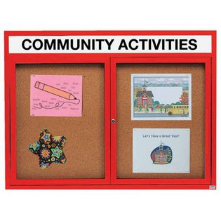 Aarco DCC4860RHR 2 Door Indoor Enclosed Bulletin Board with Red Powder Coated Aluminum Frame  and Header 48