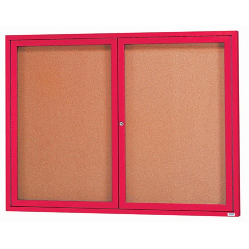 Aarco DCC4860RR  2 Door Indoor Enclosed Bulletin Board with Red Powder Coated Aluminum Frame  48