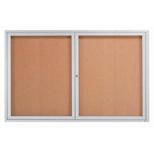 Aarco DCC4872R 2 Door Indoor Enclosed Bulletin Board with Aluminum Frame  48