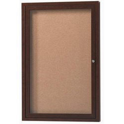 Aarco DCC4872RB 2 Door Indoor Enclosed Bulletin Board with Blue Powder Coated Aluminum Frame  48