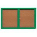 Aarco  DCC4872RG 2 Door Indoor Enclosed Bulletin Board with Green Powder Coated Aluminum Frame  48