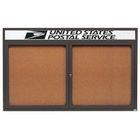 Aarco DCC4872RHBA 2 Door Indoor Enclosed Bulletin Board with Bronze Anodized  Aluminum Frame  and Header 48