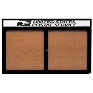 Aarco DCC4872RHBK 2 Door Indoor Enclosed Bulletin Board with Black Powder Coated Aluminum Frame  and Header 48