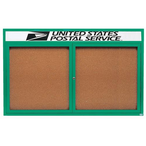 Aarco DCC4872RHG 2 Door Indoor Enclosed Bulletin Board with Green Powder Coated Aluminum Frame and Header 48