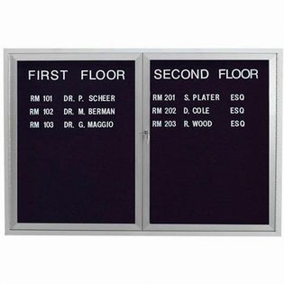 Aarco ADC3648I 2 Door Illuminated Enclosed Directory Board with Anodized Aluminum Frame 36