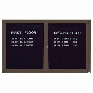 Aarco ADC3660BA 2 Door Enclosed Directory Board with Bronze Anodized Aluminum Frame 36