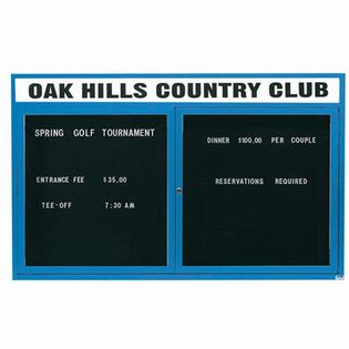Aarco ADC3660HB 2 Door Enclosed Directory Board with Blue Anodized Aluminum Frame and Header 36