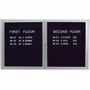 Aarco ADC3660I 2 Door Illuminated Enclosed Directory Board with Anodized Aluminum Frame 36