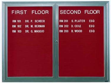 Aarco ADC3660R 2 Door Enclosed Directory Board with Red Anodized Aluminum Frame 36