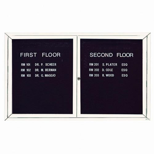 Aarco ADC3660W 2 Door Enclosed Directory Board with White Anodized Aluminum Frame 36