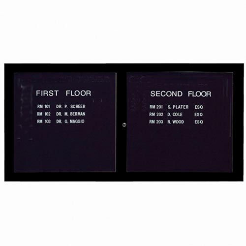Aarco ADC3672BK 2 Door Enclosed Directory Board with Black Anodized Aluminum Frame 36