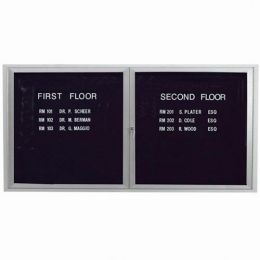 Aarco ADC3672I 2 Door Illuminated Enclosed Directory Board with Anodized Aluminum Frame 36
