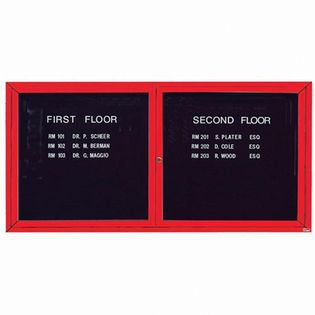 Aarco ADC3672R 2 Door Enclosed Directory Board with Red Anodized Aluminum Frame 36