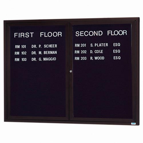 Aarco ADC4860BA 2 Door Enclosed Directory Board with Bronze Anodized Aluminum Frame 48