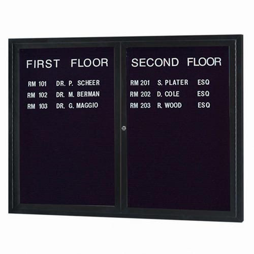 Aarco ADC4860BK 2 Door Enclosed Directory Board with Black Anodized Aluminum Frame 48