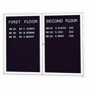 Aarco ADC4860W 2 Door Enclosed Directory Board with White Anodized Aluminum Frame 48