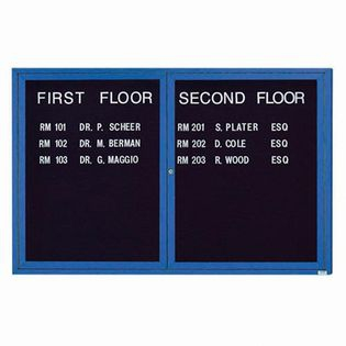 Aarco ADC4872B 2 Door Enclosed Directory Board with Blue Anodized Aluminum Frame 48