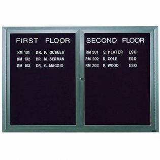 Aarco ADC4872I 2 Door Illuminated Enclosed Directory Board with Aluminum Frame 48