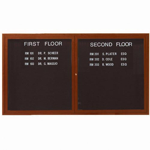 Aarco ADCO3660R 2 Door Indoor Enclosed Directory Board with Aluminum Wood Look Oak Finish 36