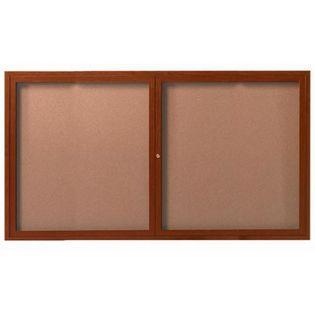 Aarco DCCO3660R 2 Door  Indoor Enclosed Bulletin Board with Aluminum Wood-Look Oak Finish 36
