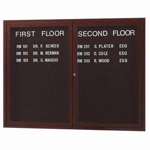 Aarco ADCWW3648 2 Door Indoor Enclosed Directory Board with Aluminum Wood-Look Walnut Finish  36