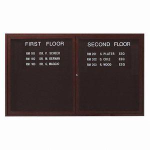 Aarco ADCWW3660R 2 Door Indoor Enclosed Directory Board with Aluminum Wood-Look Walnut Finish  36