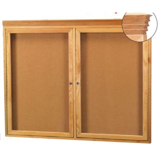 Aarco OBC3648RC 2 Door Enclosed Bulletin Board with Crown Molding and Oak Finish  36