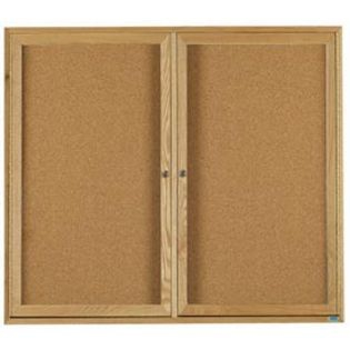 Aarco OBC3648R 2 Door Enclosed Bulletin Board with Oak Finish  36
