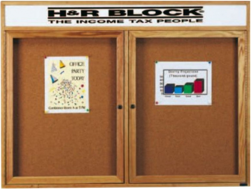 Aarco OBC3660RH 2 Door Enclosed Bulletin Board with Header and Oak Finish  36