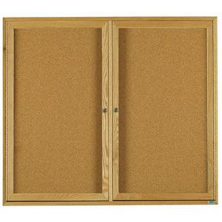 Aarco OBC4860R 2 Door Enclosed Bulletin Board with Oak Finish  48