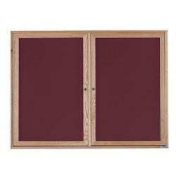 Aarco ODC3648 2 Door 1 Door Enclosed Changeable Letter Board with Oak Finish 36