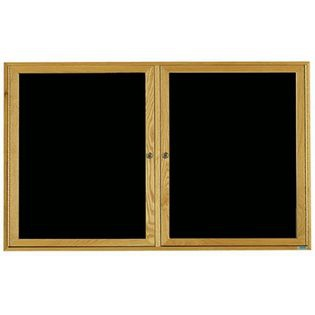 Aarco ODC3660 2 Door Enclosed Changeable Letter Board with Oak Finish 36