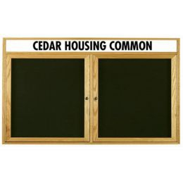 Aarco ODC3660H 2 Door  Enclosed Changeable Letter Board with Header and Oak Finish 36
