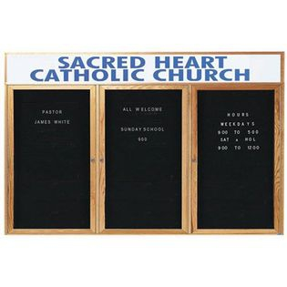 Aarco ODC3672-3H 2 Door Enclosed Changeable Letter Board with Header and Oak Finish 36