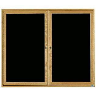 Aarco ODC4860 2 Door Enclosed Changeable Letter Board with Oak Finish 48