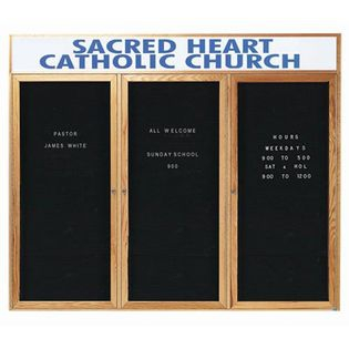 Aarco ODC4872-3H 2 Door Enclosed Changeable Letter Board with Header and Oak Finish 48