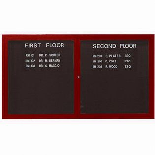"Aarco OADCW3660R 2 Door Outdoor Enclosed Directory Board with Aluminum Wood-Look Cherry Finish  36"" x 60"""